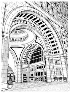 236x310 A Pen Amp Ink Drawing Of The Backside Of The State House In Boston