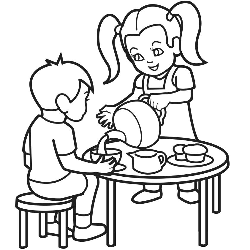 842x842 Tea Party Coloring Pages Packed With Tea Party Drawing Poet Tea