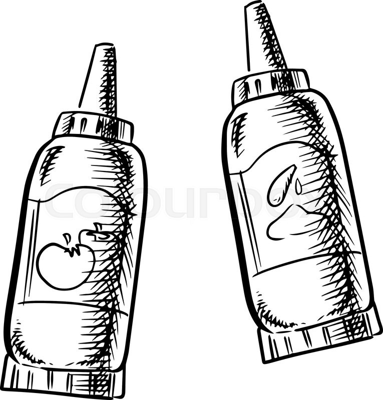765x800 Ketchup And Mustard Squeeze Dispenser Bottles Sketch Icons