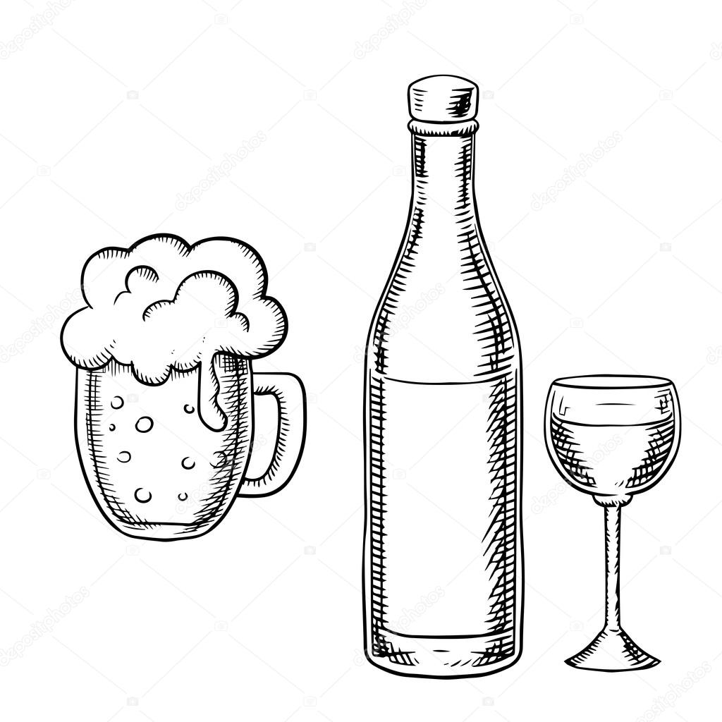 1024x1024 Wine Glass, Bottle And Beer Tankard Stock Vector Seamartini