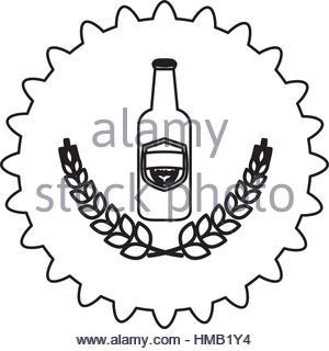 300x320 Contour Beer Cap Emblem Icon Image, Vector Illustration Stock