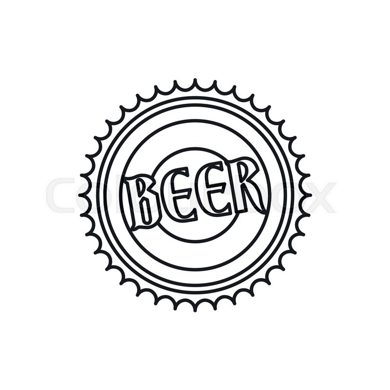 800x800 Beer Bottle Cap Icon In Outline Style Isolated Vector Illustration