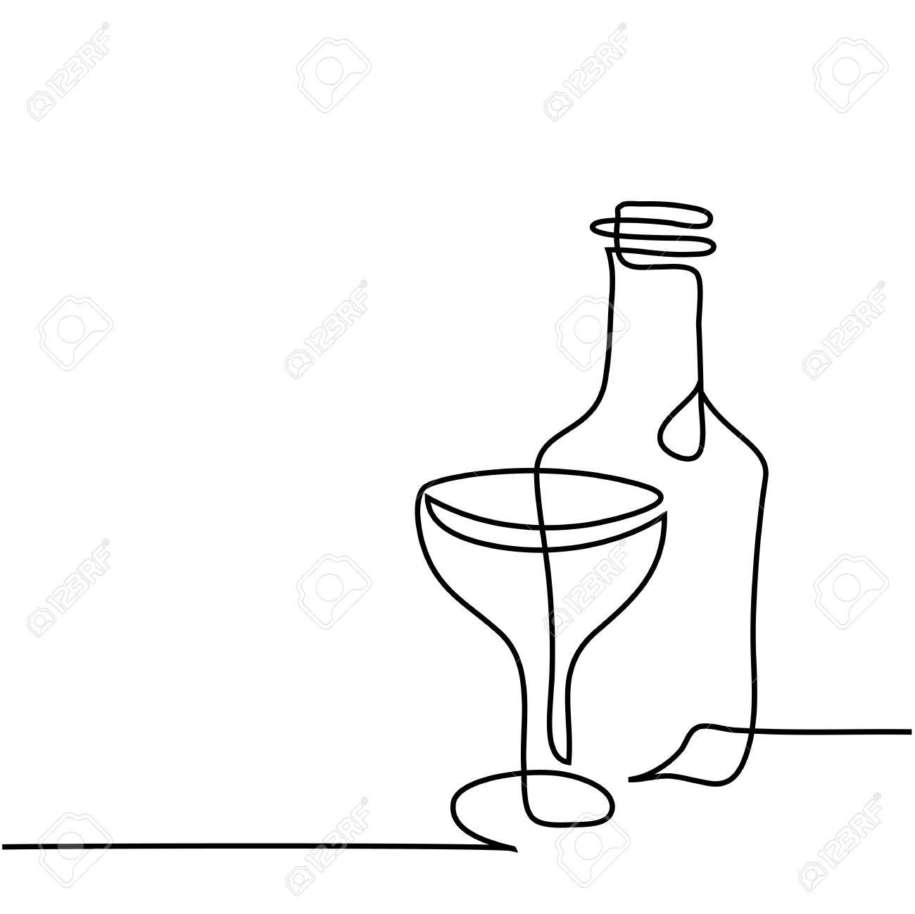 1300x1299 Continuous Line Drawing. Wine Bottle And Glass Contour. Black