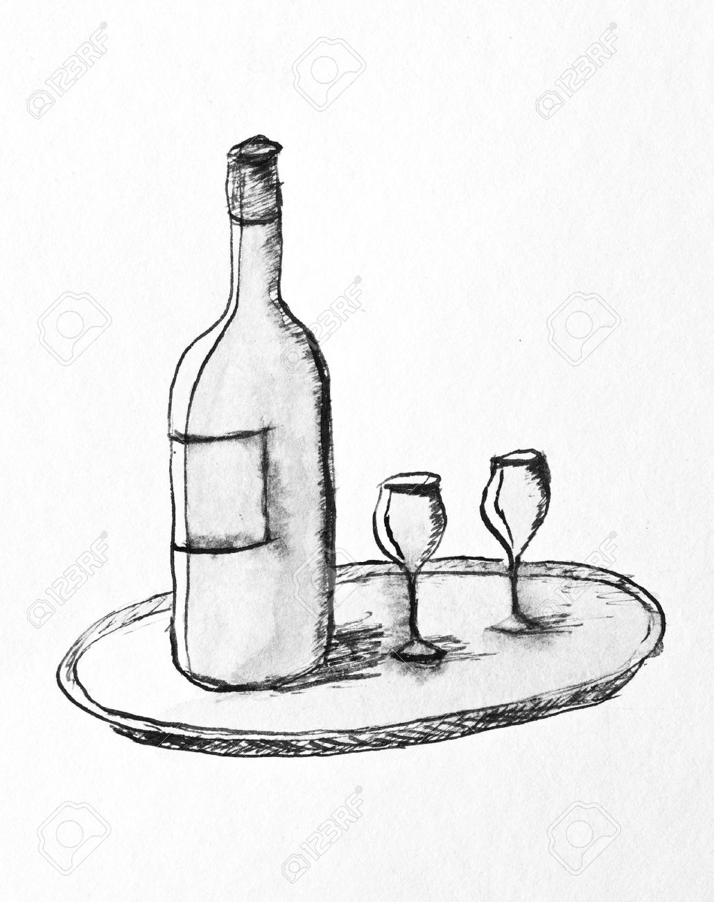 1030x1300 Drawing Of A Wine Bottle Pencil Drawing Of A Wine Bottle And Two