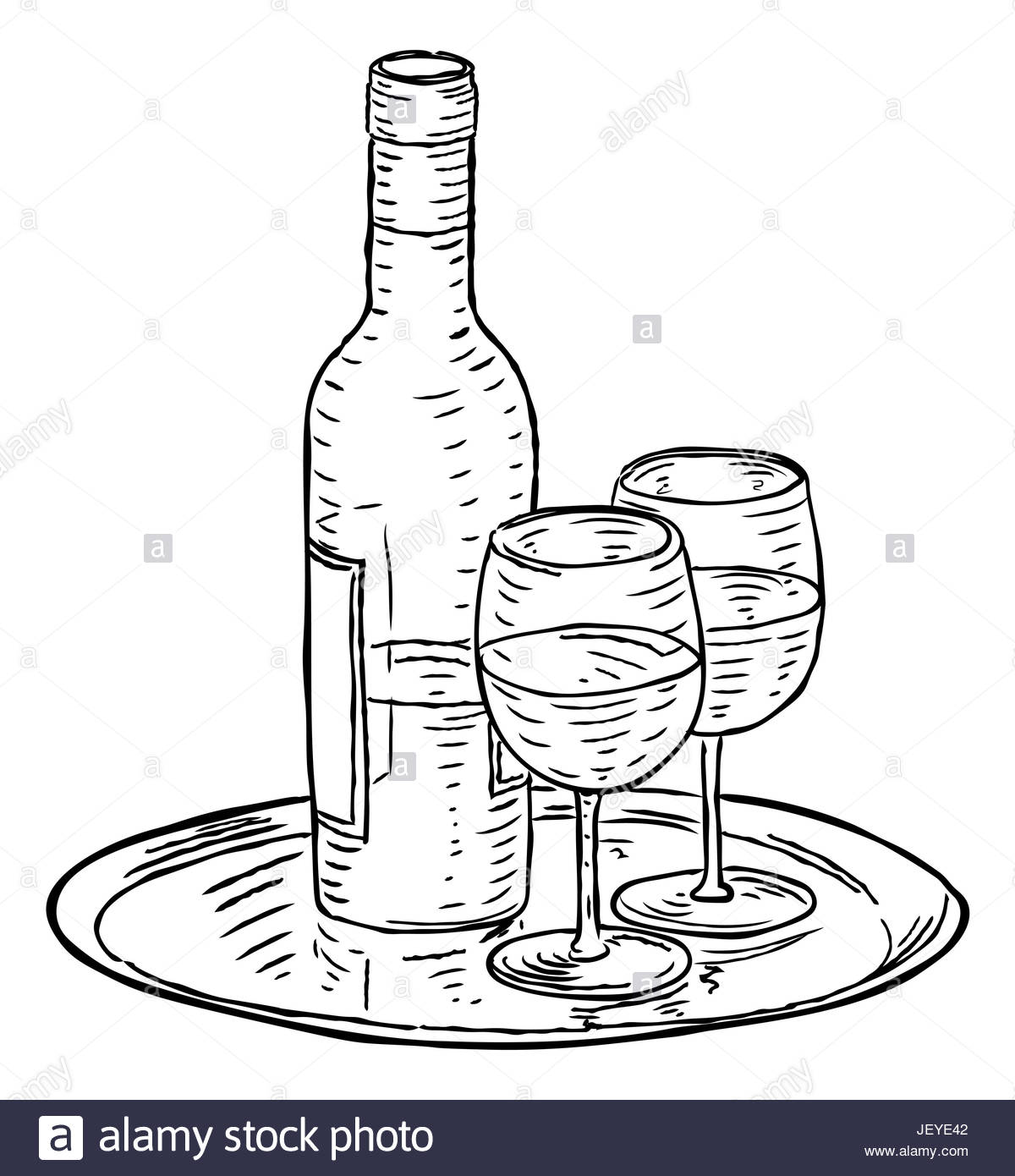 1200x1390 A Bottle Of Wine And Two Glasses On A Tray Hand Draw In A Retro