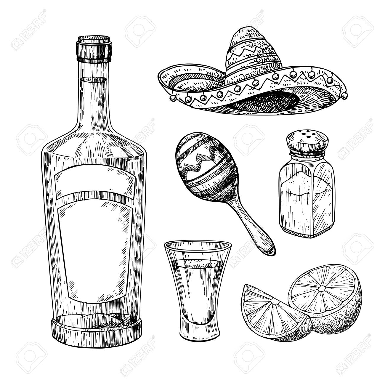 1300x1300 Tequila Bottle, Salt Shaker And Shot Glass With Lime. Mexican