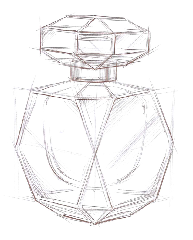 636x793 How To Draw A 3d Perfume Bottle