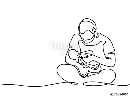 500x375 Continuous Line Drawing. Young Father Feeding Baby From Bottle