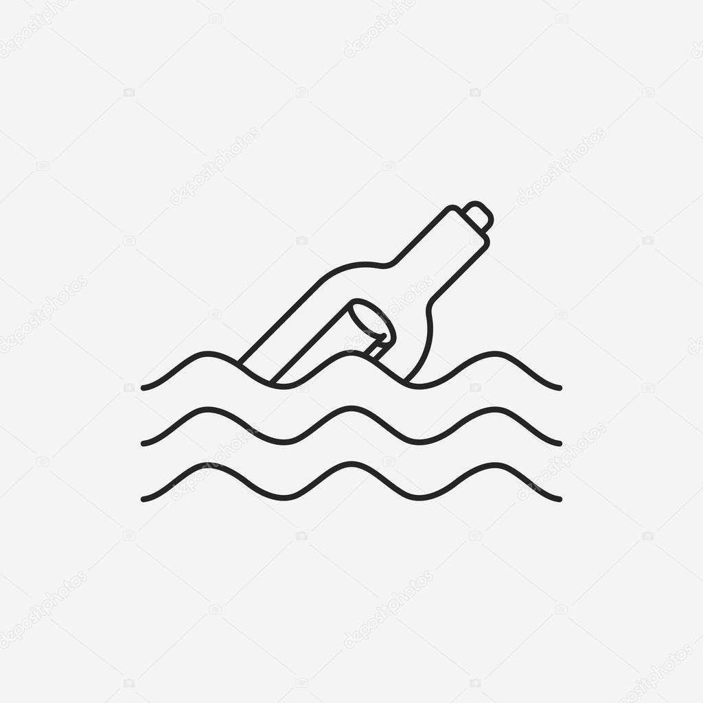 1024x1024 Message In A Bottle Line Icon Stock Vector Vectorchef