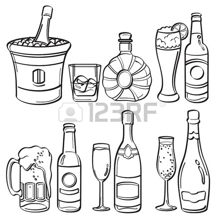 450x450 Sketch Drawing Of The Bottle With A Cork. Isolated Object