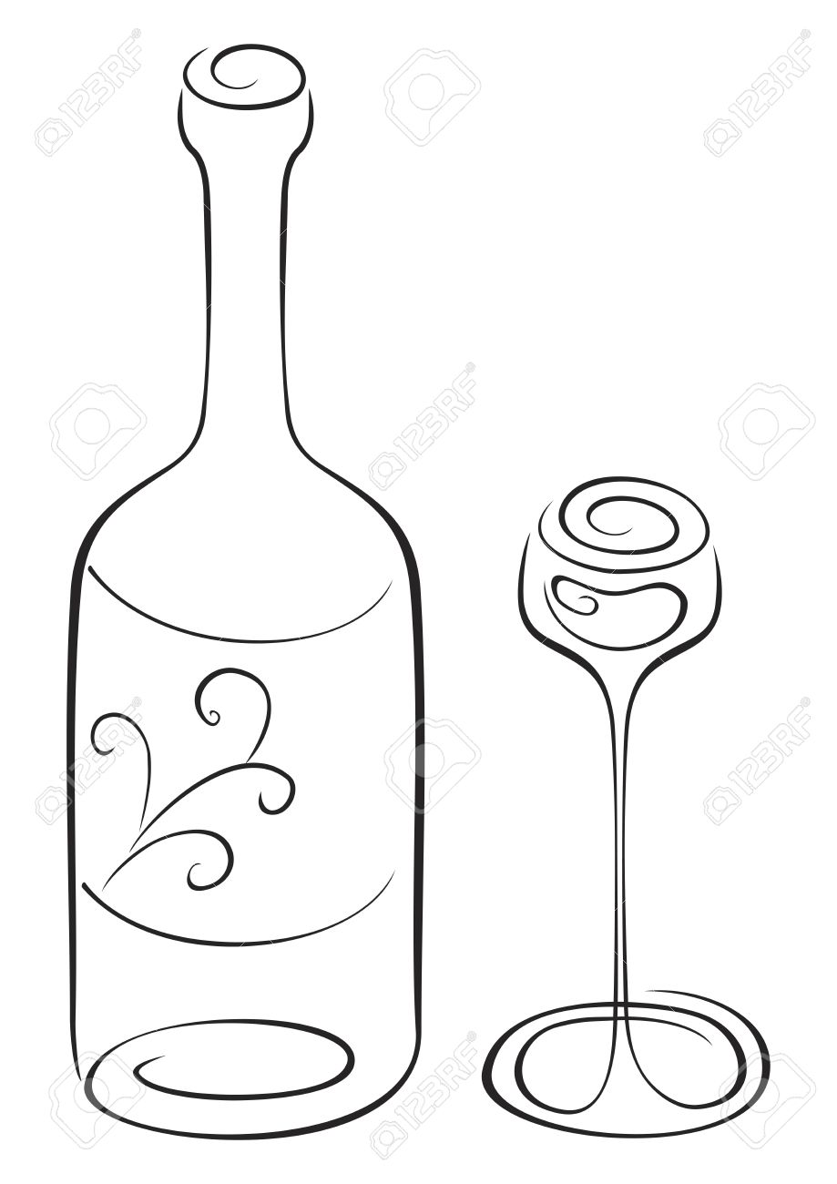 919x1300 Symbol Of Bottle And Glass On Sketch Royalty Free Cliparts