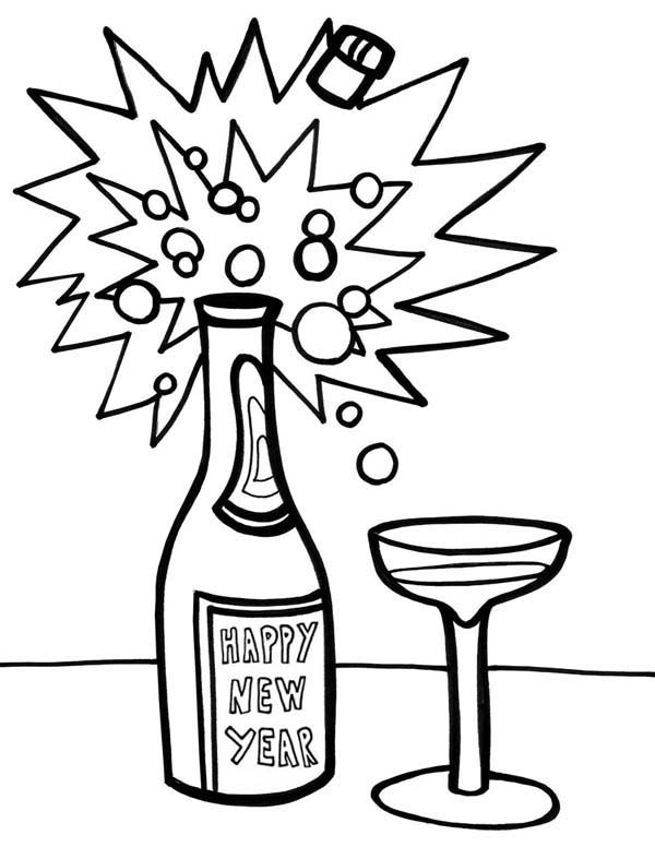 600x776 A Bottle Of Campagne On New Years Eve Coloring Page Kids Play