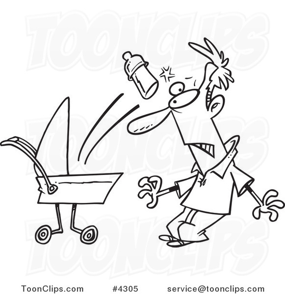 581x600 Cartoon Black And White Line Drawing Of A Baby Throwing A Bottle