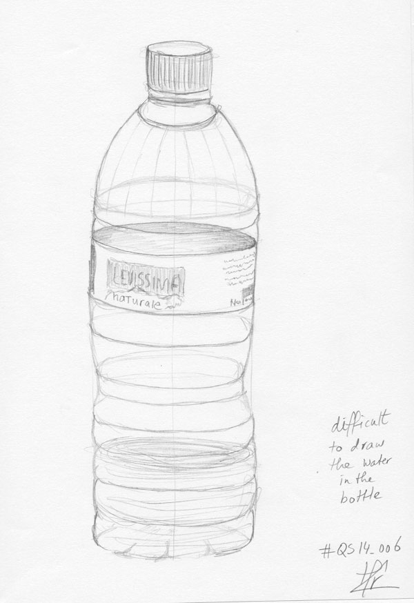 600x874 Qs14 006 Waterbottle With Still A Bit Of Water Left. Pencil