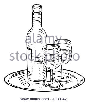 300x345 A Bottle Of Wine And Two Wineglasses Hand Draw In Retro Vintage