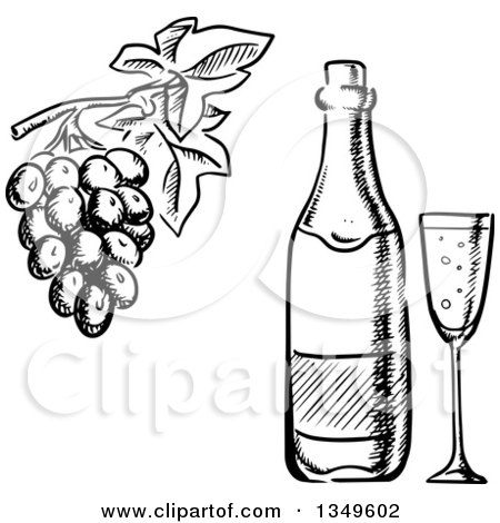 450x470 Clipart Of A Black White Sketched Wine Bottle, Glass