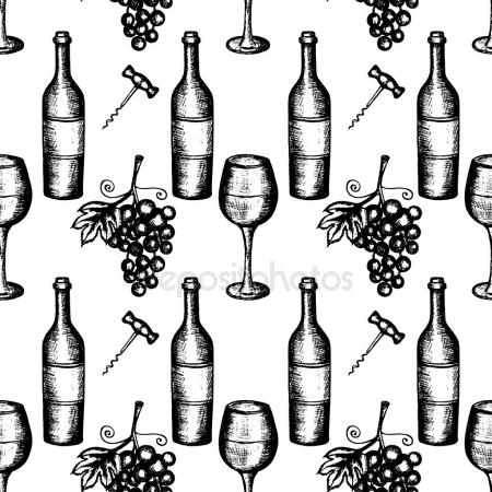 450x450 Seamless Pattern With Pencil Drawings Of Wine Bottle And Grape