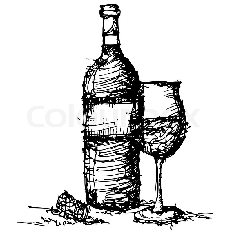 800x800 Sketch Drawing Of Wine Bottle And Glass Vector Stock Vector
