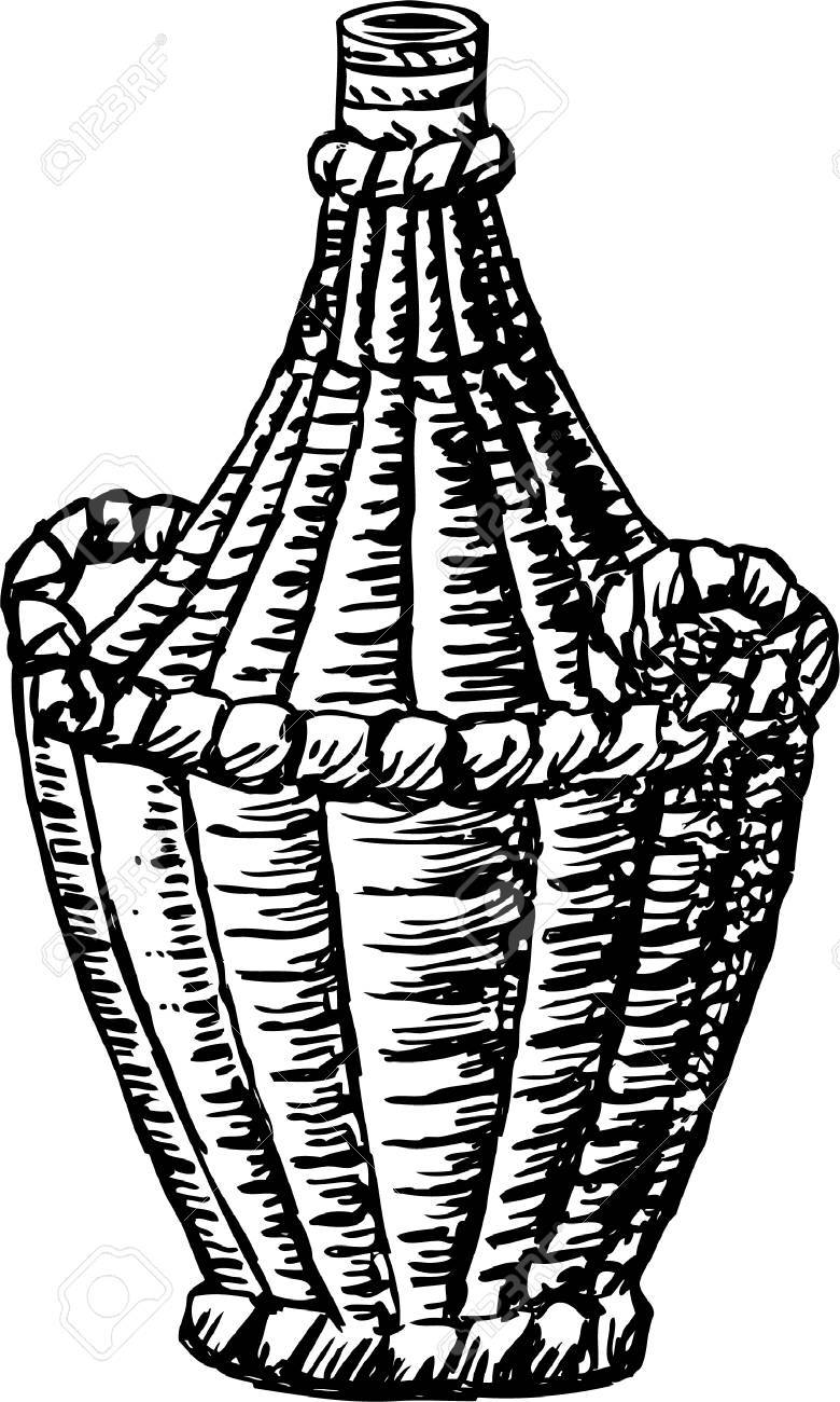 780x1300 Vector Drawing Of A Braided Bottle Of Wine Royalty Free Cliparts