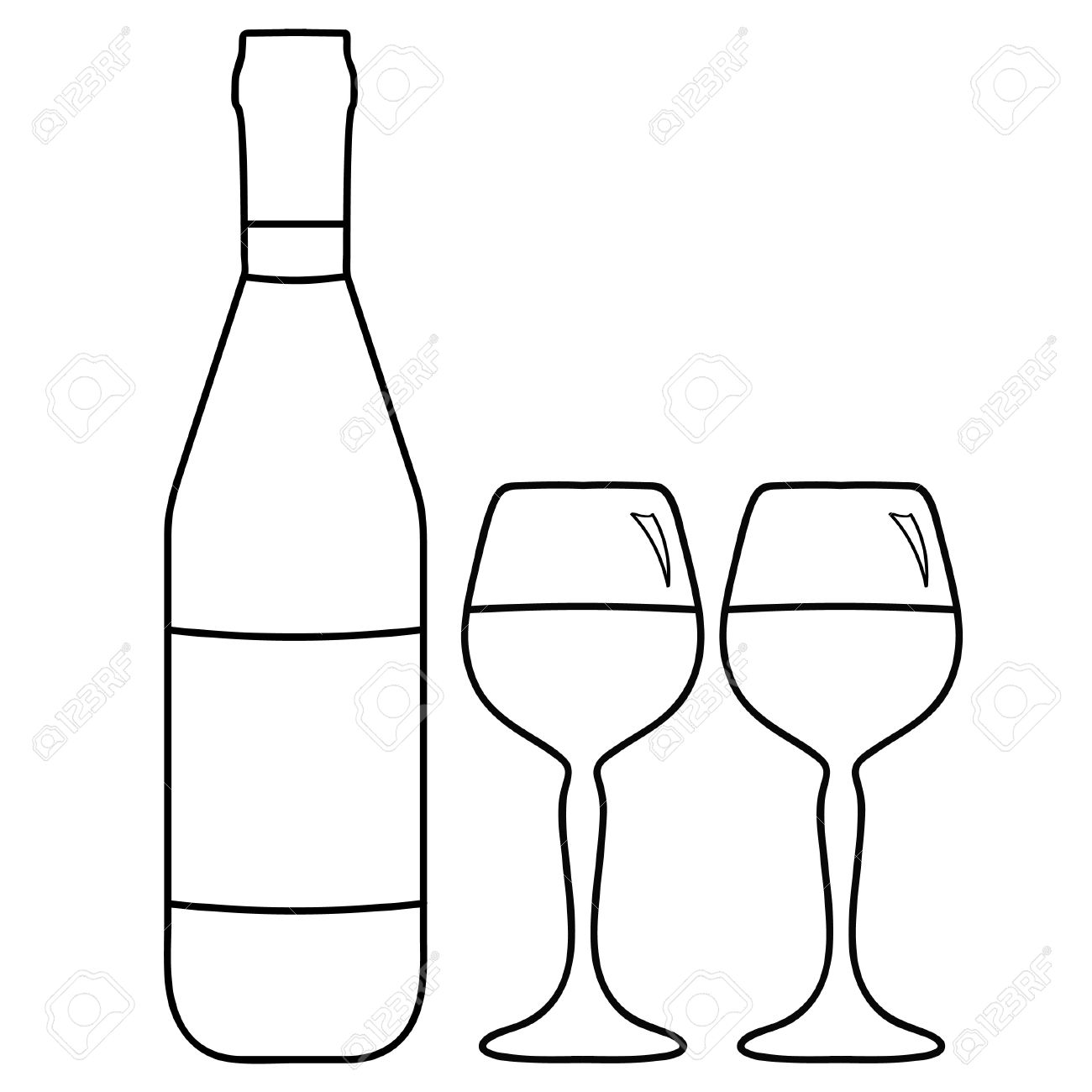 1300x1300 Vector Illustration Of Wine Bottle And Two Glasses With Wine