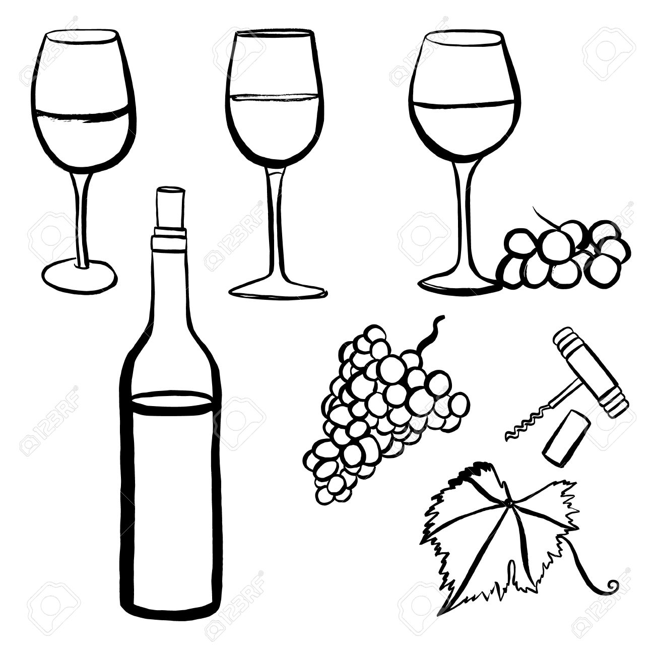 1300x1300 Vector Set Of Freehand Drawings Of Wine Glasses, Grapes, Bottle