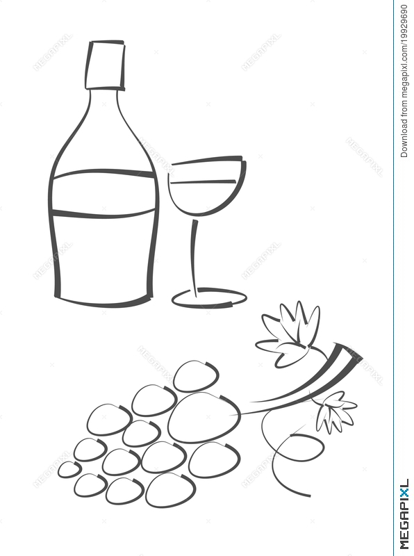 596x800 Abstract Drawing Wine Bottle, Wine Glass And Grap Illustration