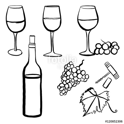 500x500 Vector Wine Set With Freehand Drawings Of Glasses, Grapes Etc