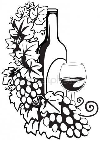 321x450 Wine Bottle And Glass With The Doodle Circular Pattern Isolated
