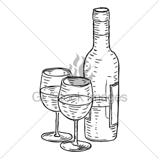 325x325 Wine Bottle And Glasses Vintage Woodcut Style Gl Stock Images
