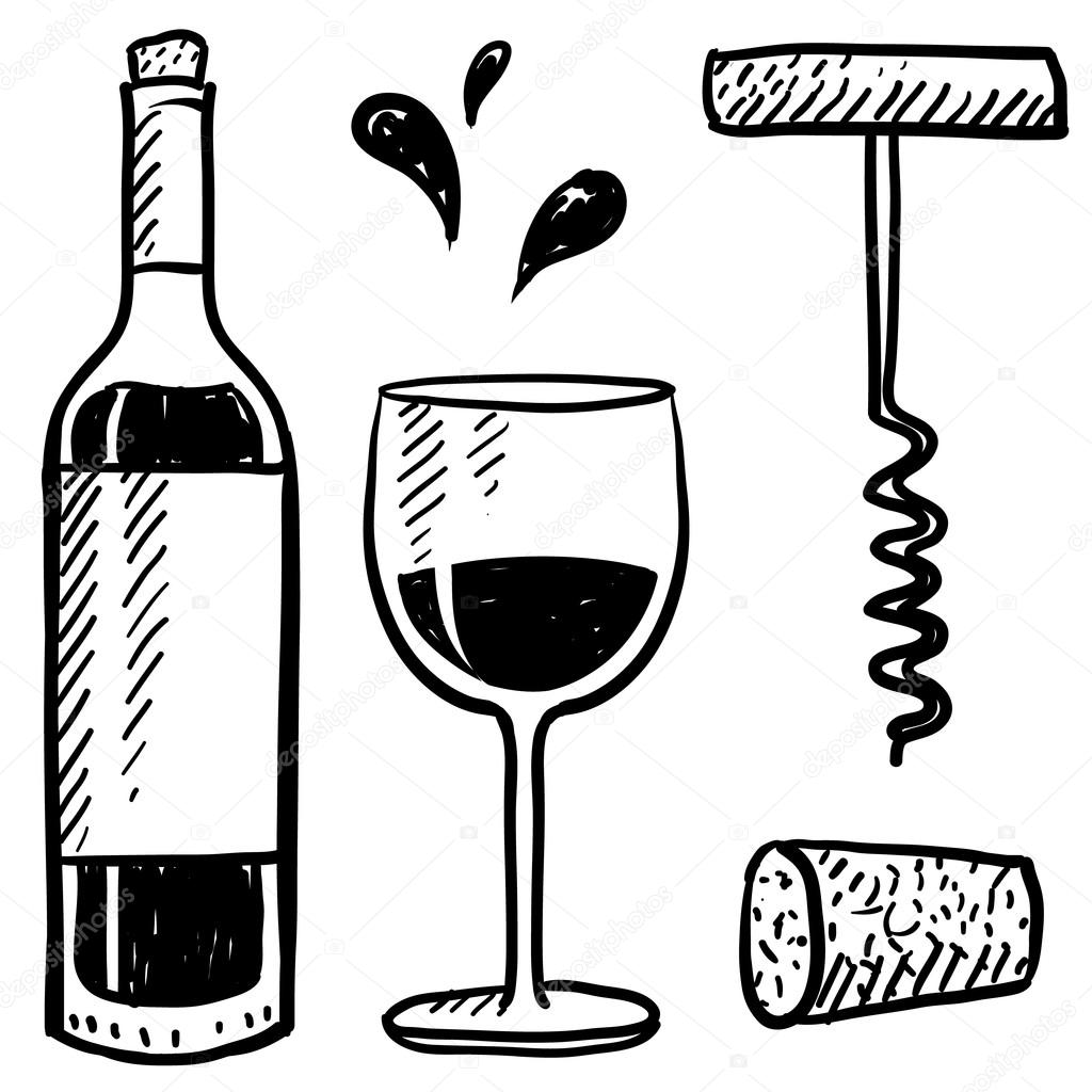 1024x1024 Wine Objects Sketch Stock Vector Lhfgraphics