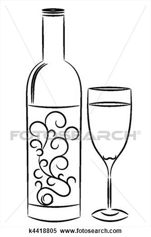 300x470 Wine Bottle And Glass View Large Illustration Embroidery