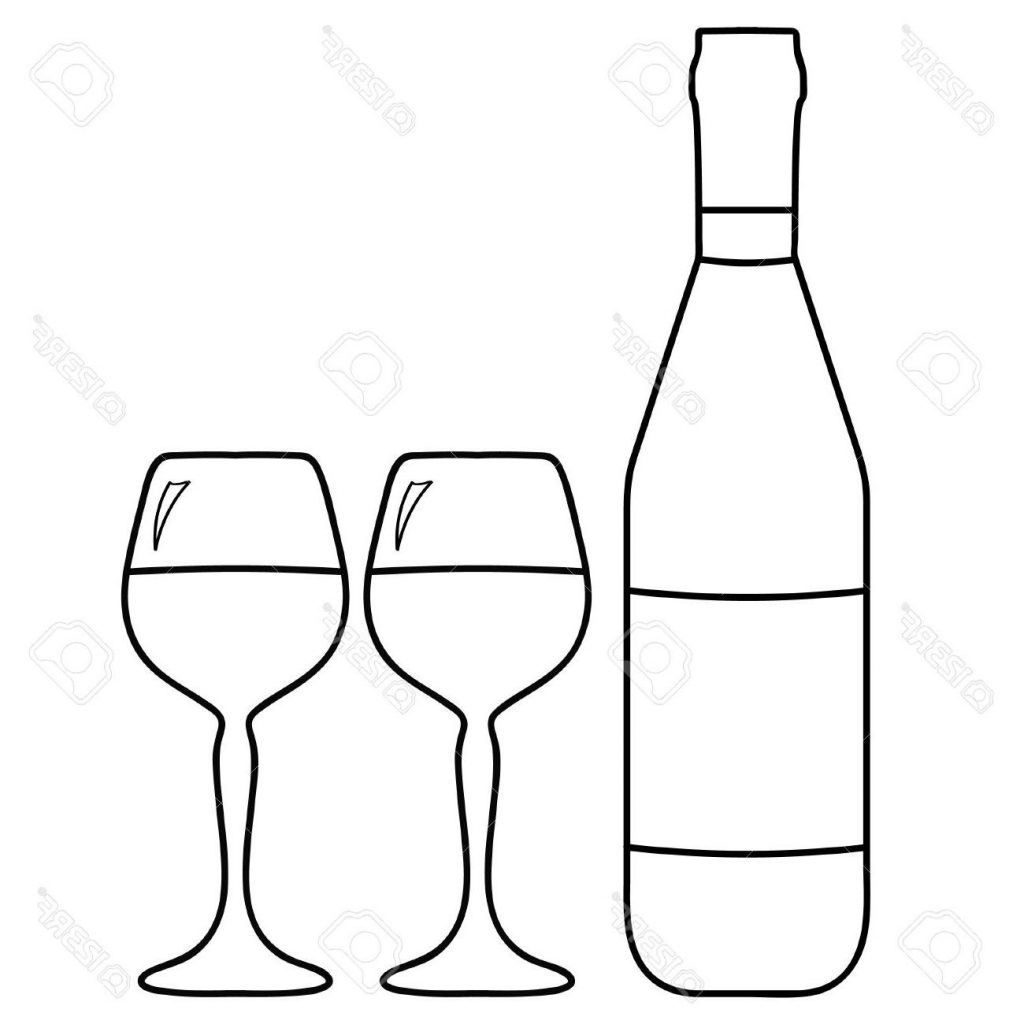 1024x1024 Best Hd Vector Illustration Of Wine Bottle And Two Glasses With Photos