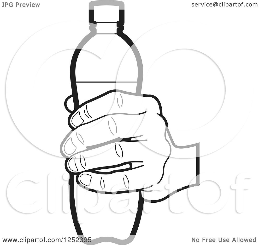 1080x1024 Clipart Of A Black And White Hand Holding A Water Bottle