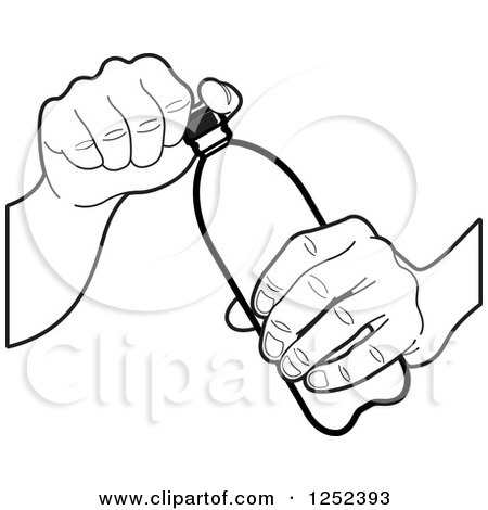 450x470 Clipart Of A Black And White Hand Opening A Water Bottle