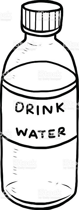 254x676 Drinking Water Bottle Clipart Black And White