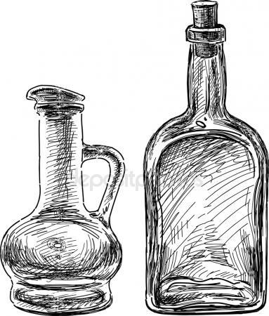 383x450 Glass Bottles Of Poison. Vector Drawing Stock Vector Marinka