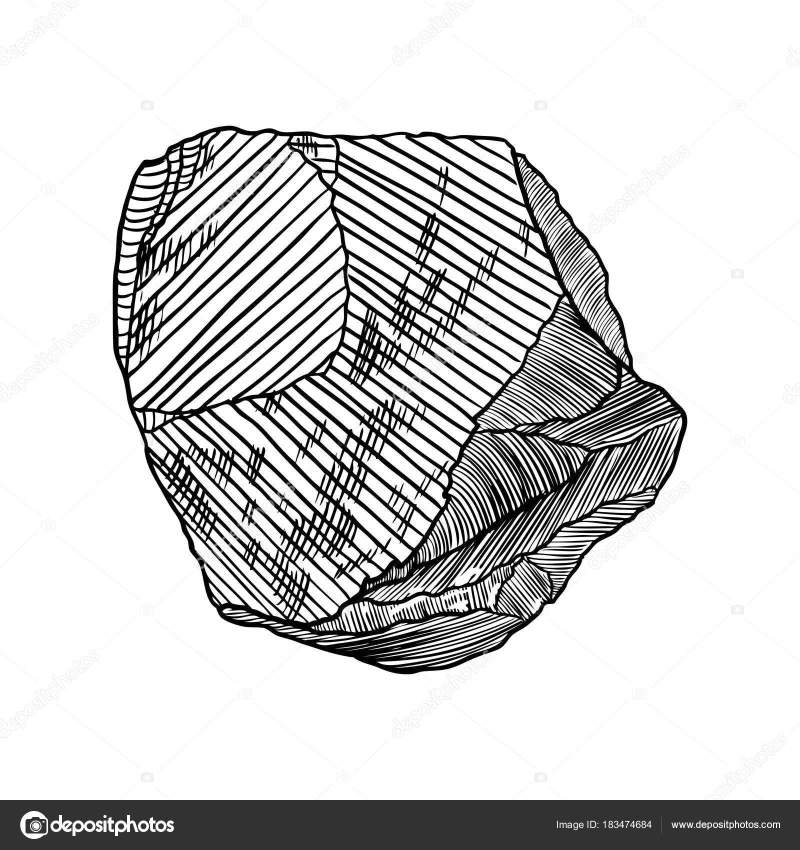 1600x1700 Rock Stone Hand Drawn Style. Big Boulder. Stock Vector