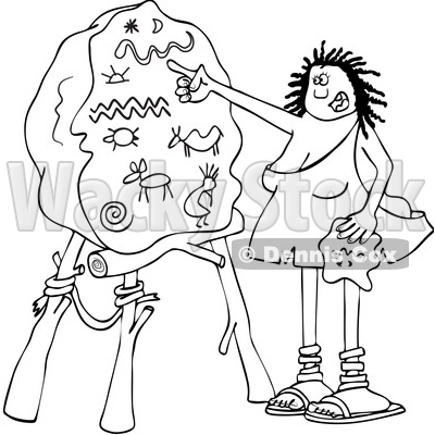 400x400 Of A Cartoon Black And White Lineart Cave Woman Teacher Pointing
