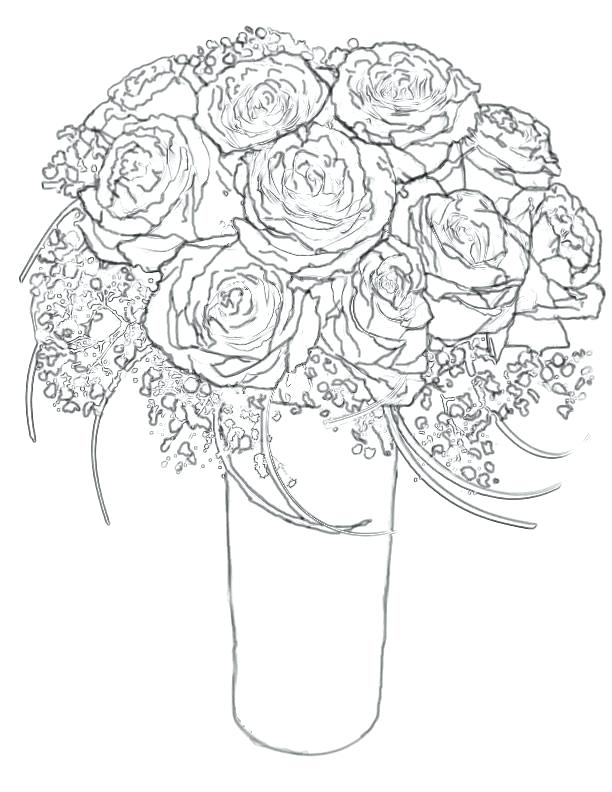 612x792 Bouquet Of Flowers Coloring Pages