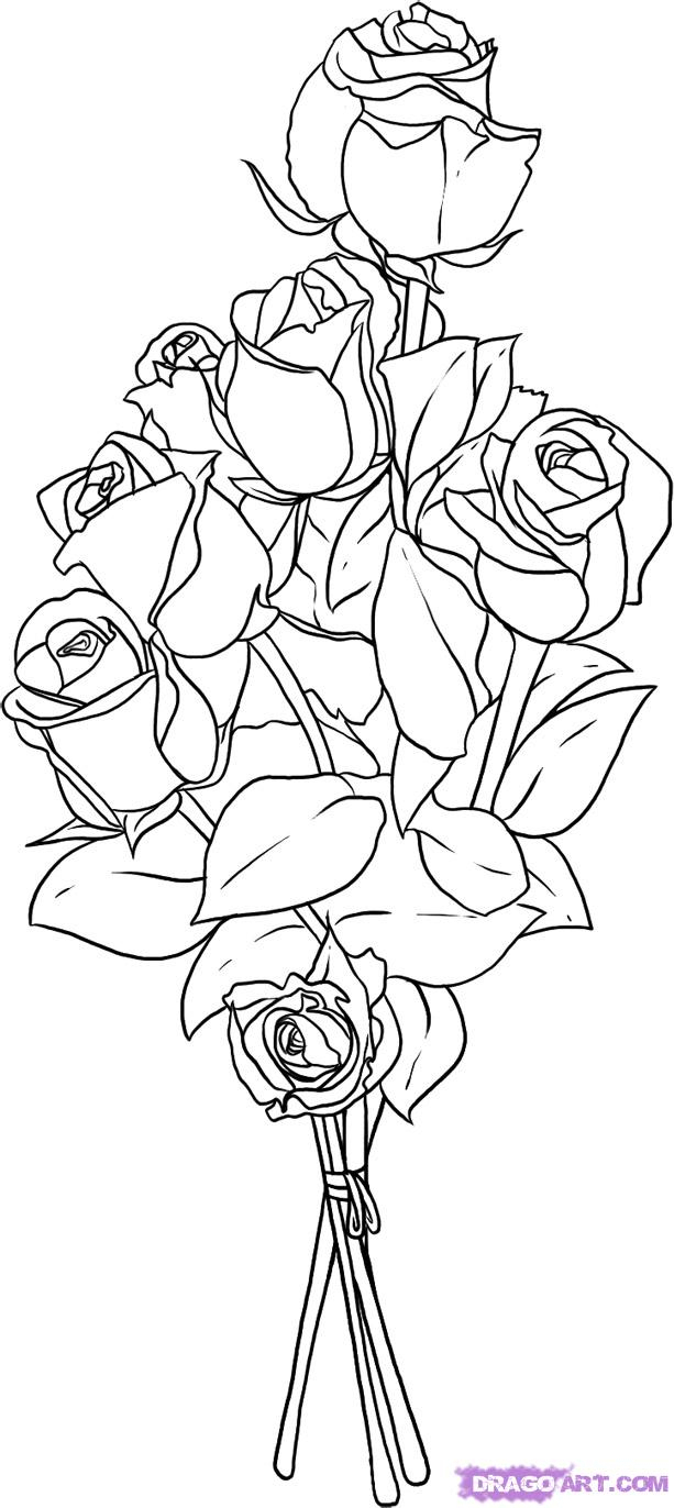 613x1372 Bunch Flowers Drawings