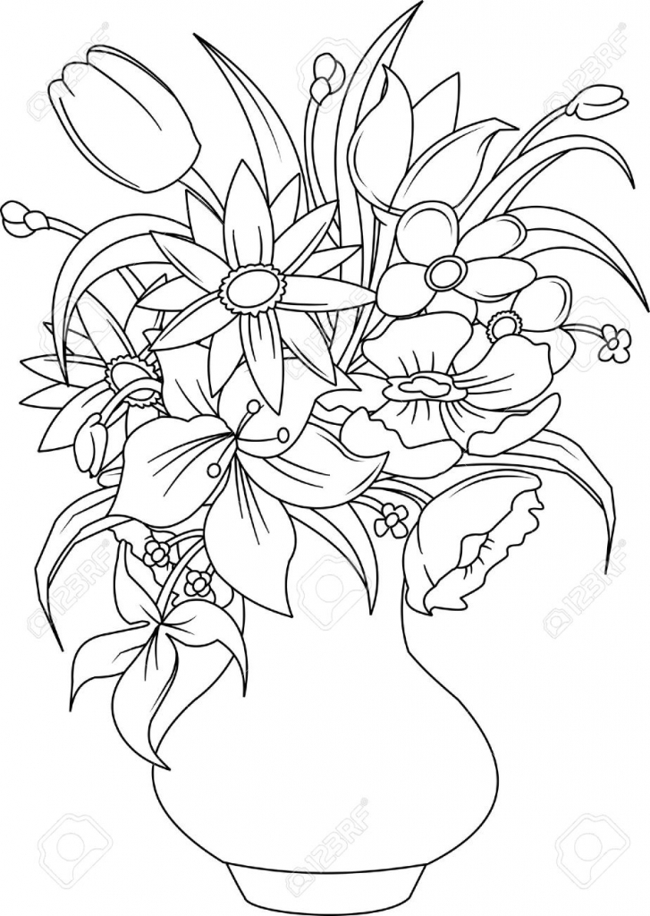 727x1024 Flower Bouquet Drawing Bouquet Of Summer Flowers In A White Vase