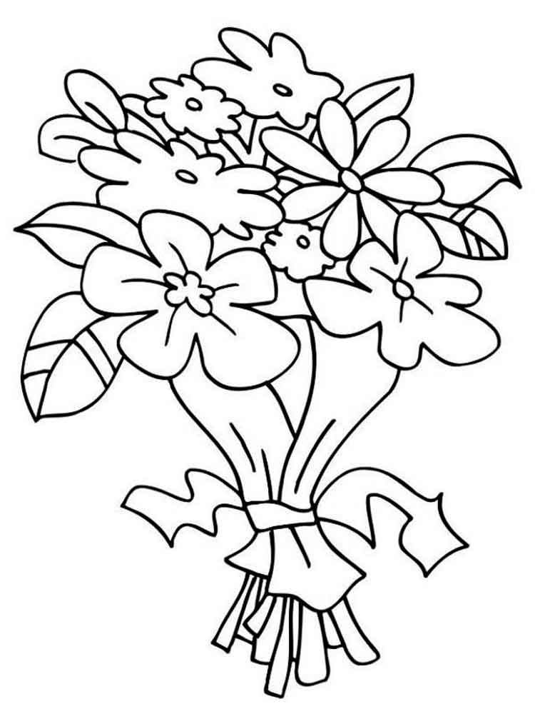 750x1000 Flower Bouquet Coloring Pages. Download And Print Flower Bouquet