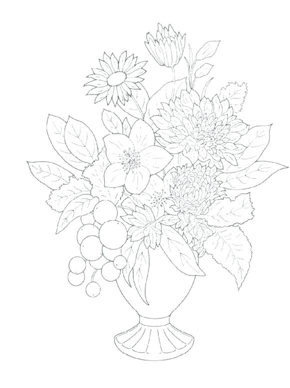 580x775 Bouquet Of Flowers Coloring Pages Free Flower Bouquet Coloring