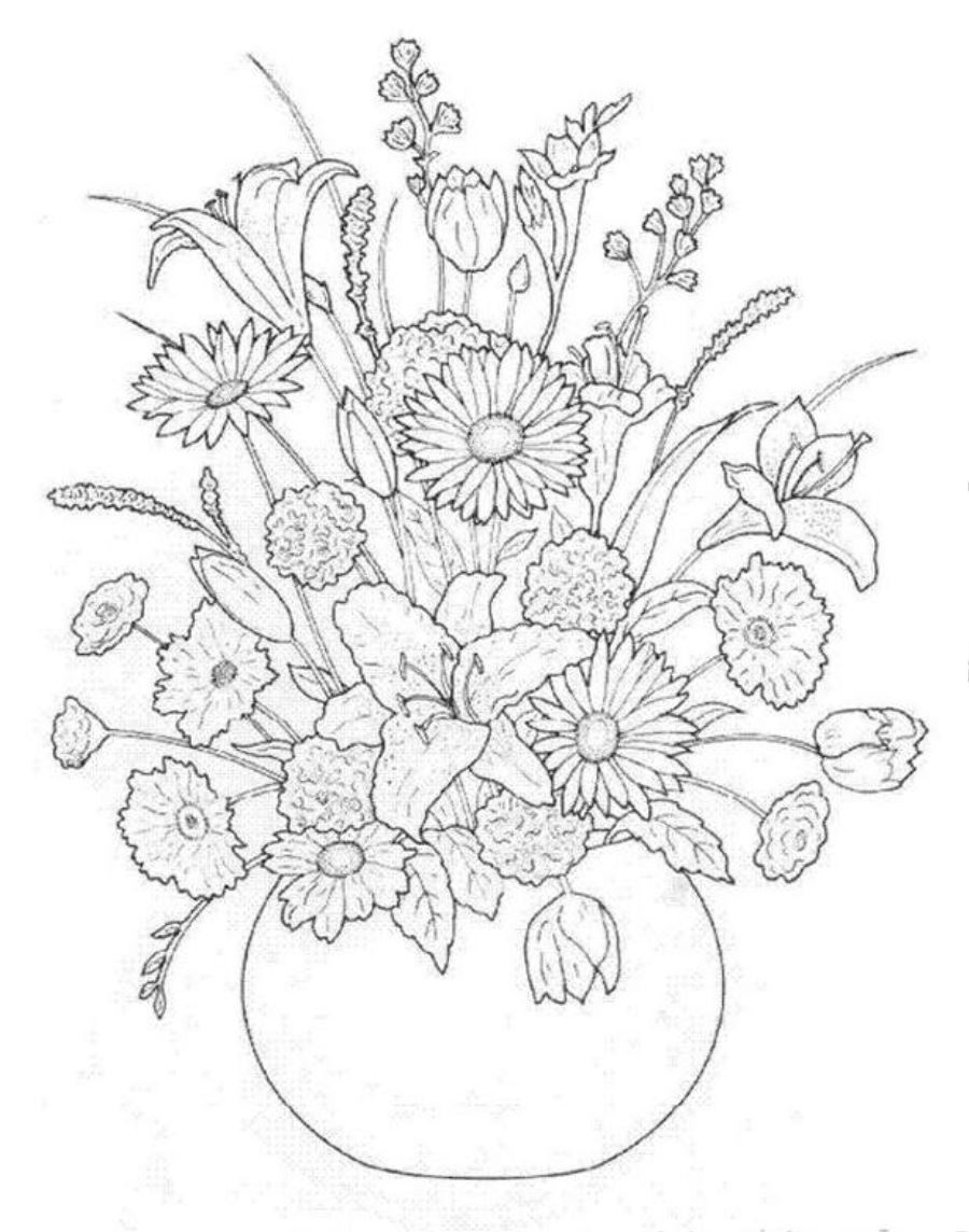 900x1144 On Flower Bouquet Coloring Pages