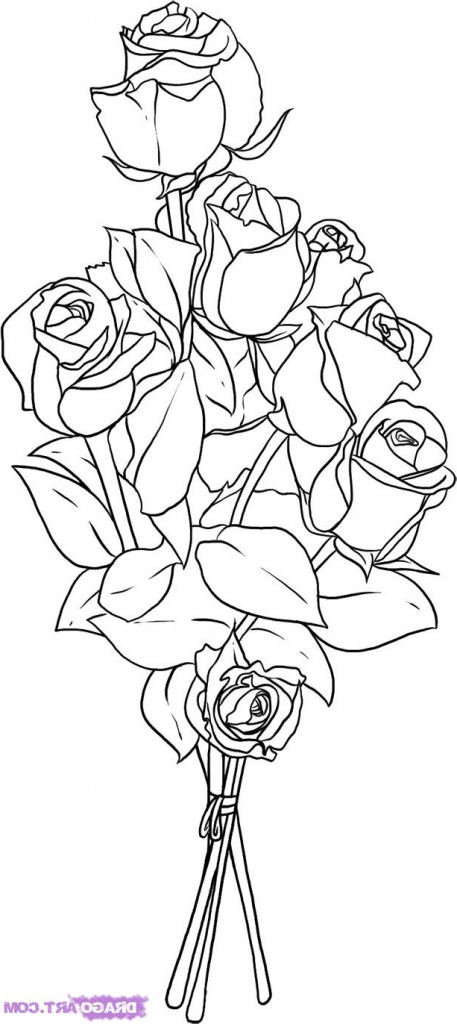 457x1024 How To Draw Flower Bouquets Flower Bouquet Drawing Drawing Art