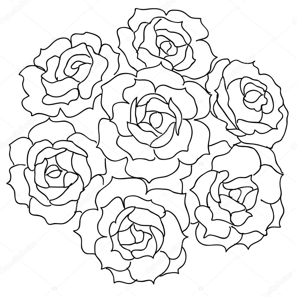 1024x1024 Bouquet Of Roses Drawing