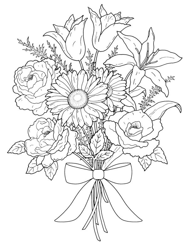 Bouquet Of Flowers Line Drawing