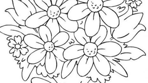 570x320 Bunch Of Flowers Drawing Bouquet Of Flowers Coloring Pages