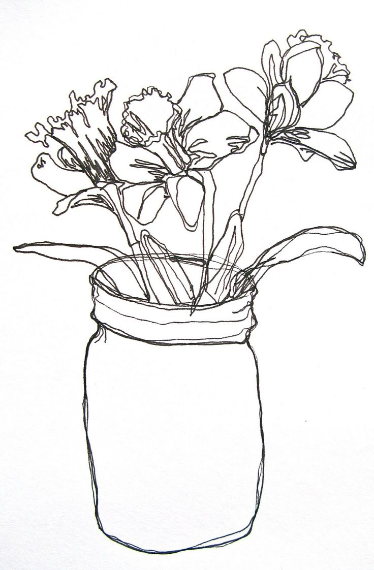 736x1122 Bunch Of Flowers In A Vase Drawings Drawing Flower Images Bouquet