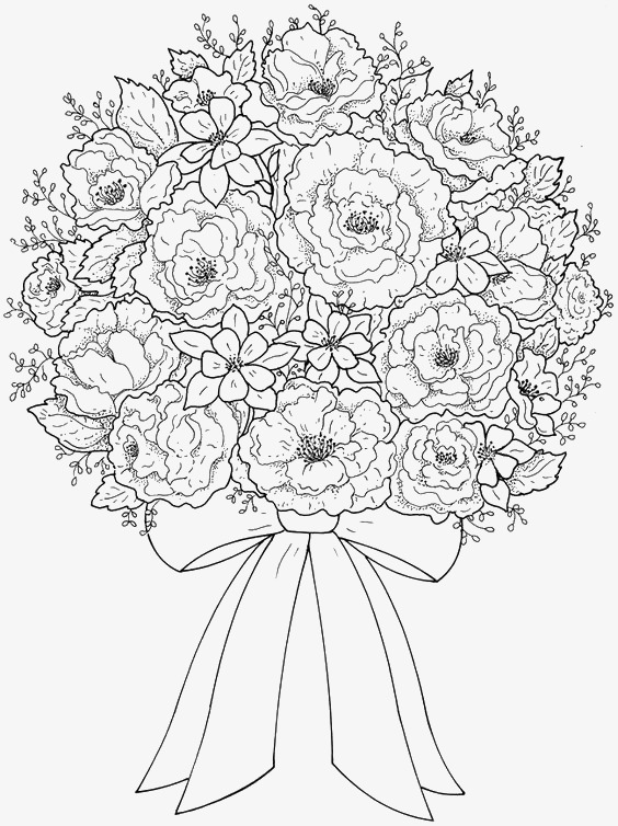 564x754 Cartoon Bouquet, Bouquet, Black And White, Line Drawing Png Image